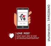 sharing love message on social... | Shutterstock .eps vector #544038640