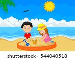 children playing sand at...   Shutterstock .eps vector #544040518
