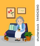 old woman with plant pot... | Shutterstock .eps vector #544042840