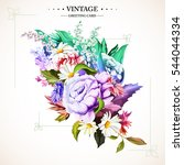 bouquet of flowers. vintage.... | Shutterstock .eps vector #544044334