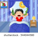 little boy woke up and yawns | Shutterstock .eps vector #544044580