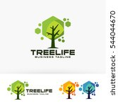 tree life. vector logo template.... | Shutterstock .eps vector #544044670