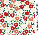 seamless pattern of camellia... | Shutterstock .eps vector #544063990