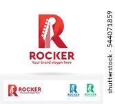guitar in letter r logo | Shutterstock .eps vector #544071859