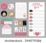 valentines day cards  gift tags ... | Shutterstock .eps vector #544079386