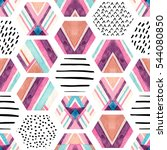 watercolor hexagon seamless... | Shutterstock . vector #544080850