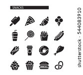 fast food menu. set of icons on ... | Shutterstock .eps vector #544083910