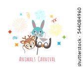 animal carnival funny childish... | Shutterstock .eps vector #544084960