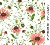 seamless pattern with chamomile ... | Shutterstock .eps vector #544085290
