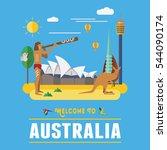 Flat design, Australia landmarks and icons, vector | Shutterstock vector #544090174