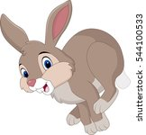 Stock vector cartoon brown rabbit running 544100533
