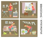 set of housewife in funny... | Shutterstock . vector #544103488