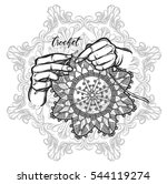 vector illustration crochet... | Shutterstock .eps vector #544119274