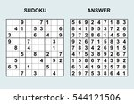 vector sudoku with answer.... | Shutterstock .eps vector #544121506