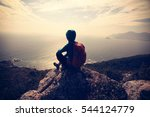 successful hiker on seaside... | Shutterstock . vector #544124779