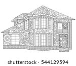 two storey house coloring book...   Shutterstock .eps vector #544129594