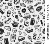 fast food pattern. hand drawn... | Shutterstock .eps vector #544145776