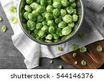 Brussels Sprouts In Metal Bowl...