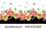 watercolor rose flower pattern | Shutterstock . vector #544152484
