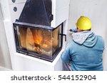 fireplace installing. fireplace ... | Shutterstock . vector #544152904