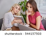 businesswomen thinking about... | Shutterstock . vector #544157503
