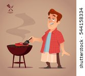 cartoon character  bbq  chef ... | Shutterstock .eps vector #544158334