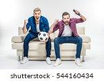 emotional male friends sitting... | Shutterstock . vector #544160434