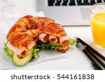 french fresh baked croissant... | Shutterstock . vector #544161838
