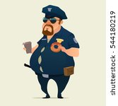 police officer with donuts and... | Shutterstock .eps vector #544180219
