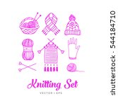 pink knitting set. contains... | Shutterstock .eps vector #544184710