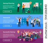 successful startup 3 flat... | Shutterstock .eps vector #544186840