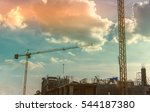large crane and construction of ... | Shutterstock . vector #544187380