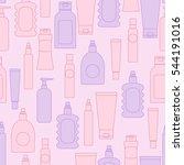 cosmetic bottles seamless... | Shutterstock . vector #544191016