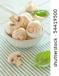close-up of delicious white mushrooms selectiv focus - stock photo