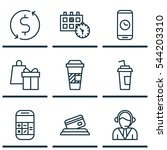 set of 9 airport icons.... | Shutterstock .eps vector #544203310