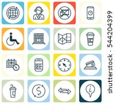 set of 16 traveling icons.... | Shutterstock .eps vector #544204399