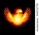 raster version. fire rooster... | Shutterstock . vector #544212778