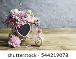 pink carnation in bicycle with... | Shutterstock . vector #544219078