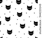 Stock vector seamless pattern with black cats and hearts vector eps 544223143