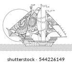 sailing ship drawing coloring... | Shutterstock .eps vector #544226149