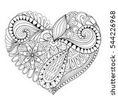artistic floral doodle heart in ... | Shutterstock . vector #544226968