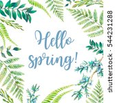 hello spring  watercolor floral ... | Shutterstock . vector #544231288
