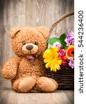 bunch of flowers and a teddy... | Shutterstock . vector #544236400