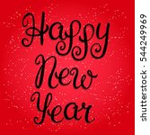 happy new year lettering on red ... | Shutterstock .eps vector #544249969