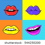 pop art lips isolated. dot... | Shutterstock .eps vector #544250200