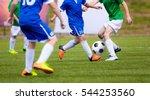 children playing football... | Shutterstock . vector #544253560
