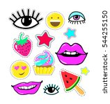 lips  eyes  smile  star  candy  ... | Shutterstock .eps vector #544255150