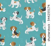 Stock vector vector seamless pattern with cute cartoon dog puppies can be used as a background wallpaper 544255174