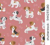 seamless pattern with funny... | Shutterstock .eps vector #544255180