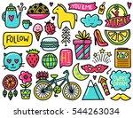 doodles cute elements. color... | Shutterstock .eps vector #544263034